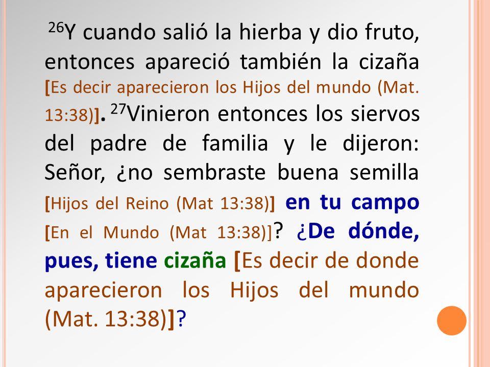 26Y cuando salió la hierba y dio fruto, entonces apareció también la cizaña [Es decir aparecieron los Hijos del mundo (Mat.